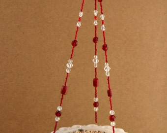 Vintage White Footed Dish Beaded Hanging Candle Holder or Bird Feeder