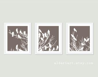 Birds on Tree Art Print Set - Wall Art Triptych Trio - Taupe Brown - Modern Home Decor - Woodland Spring Birds