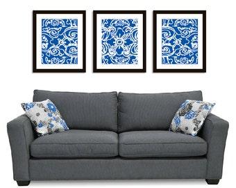 Abstract Flower Wall Art Print Set - 11x14 - Royal Blue - Modern Flower Wall Art - Triptych - Spring Decor