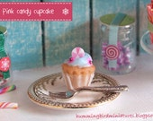 Christmas Cupcake 'Pink' Candy  - 1/12 Scale Dollhouse Miniature