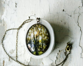 Rustic NYC Trees Photo Jewelry Necklace, New York City Pendant, Statement Jewelry, Wearable Art