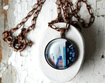 Chrysler Building in New York City Photo Jewelry Pendant, NYC Copper Jewelry, Wearable Art
