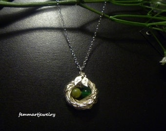 Bird Nest Necklace - Family Initial Leaf - Mommy Necklace - Mother's Day Gift - Birth Stones - Femmart
