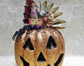 Halloween Jack O Lantern Pumpkin Vintage Inspired Decorations Bottle Brush Tree Vintage Music Sheet Light blinks different colors ORANGE