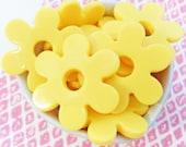 6x 45mm Sunshine Yellow Flower shaped Resin beads