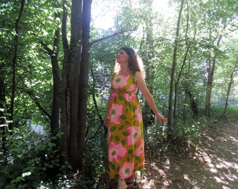 1960s maxi dress Floral Empire waist 60s dress L