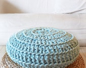 Floor Cushion Crochet - Thick Cotton -  Blue