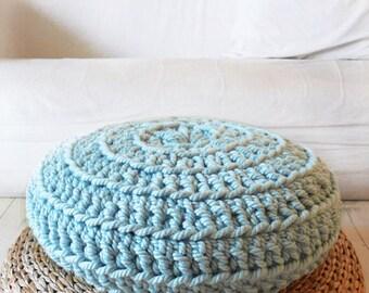 Floor Cushion Crochet - Thick Cotton -  Blue