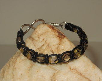 Spanish Knot (Snake Weave) and Gold with Black Flecks Czech Cathedral Glass Leather Cord Bracelet