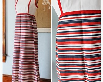 Retro 60's Americana • HANDMADE • Horizontal Stripe Patriotic Maxi Dress