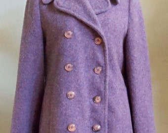 "Vintage 80's New England Mackintosh 3 Quarter Length 85% Wool Purple Faux Double-Breasted Coat Bust 39"" Waist 38"""