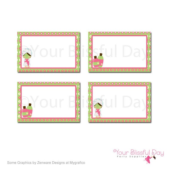 PRINTABLE Girl Spa Party Label Tents (Character of your choice) #586