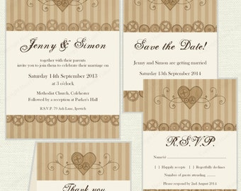 Steampunk Wedding stationery set - printable invitation, save the date, rsvp and thank you cards - heart and cogs, digital invite