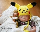 Crochet Pikachu Hat (Newborn)
