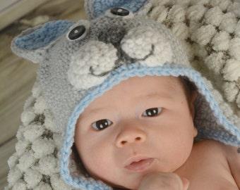 Bunny Hat, Rabbit Hat, Crochet Bunny Hat