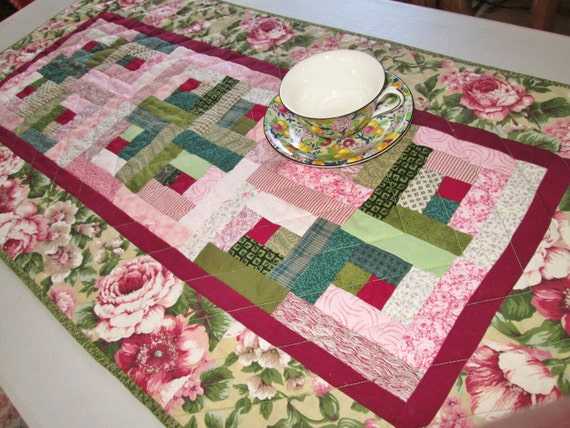 Quilted Table Runner - Cottage Chic Log Cabin - Shabby Chic Floral