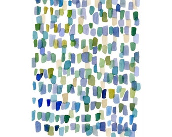 Rain, Abstract Watercolor Painting, blue green purple  modern painting, abstract little watercolor painting