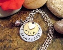 Granddaughter Jewelry, Granddaughter Necklace, Personalized Jewelry, Hand Stamped Jewelry