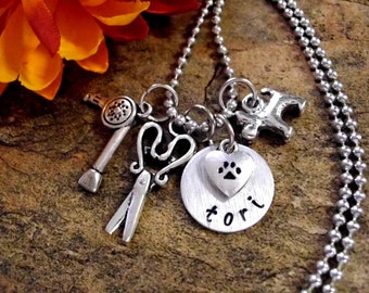 SUPER SALE Dog Groomer Jewelry, Dog Groomer Necklace, Personalized Jewelry, Hand Stamped Jewelry