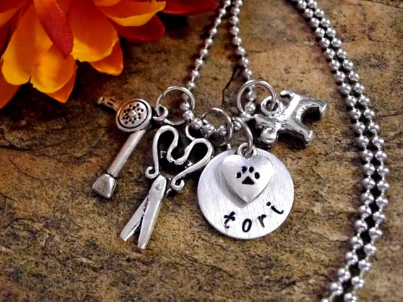 Pet Groomer Personalized Charm Necklace