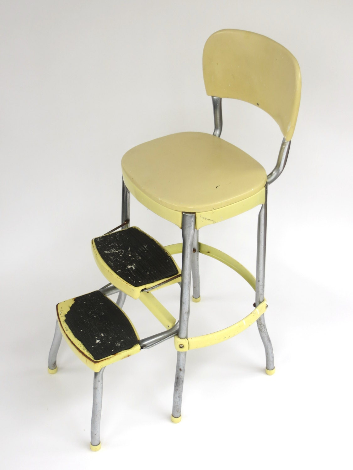 Pale Yellow Cosco Kitchen Chair Fold Out Step Stool Combo