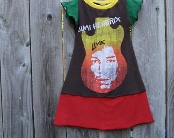 Jimi Hendrix Upcycled Dress Size 2/ 3