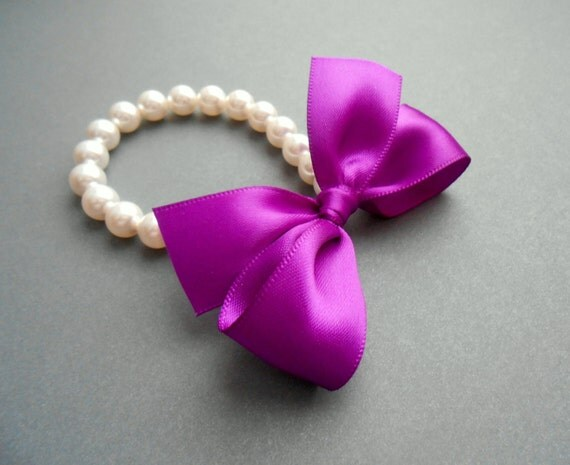 Flower Girl Pearl Bracelets White Pearls With Purple Satin Bow