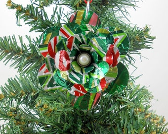 Mountain Dew Flower Christmas Ornament.  Recycled Soda Can Art.  Double-sided