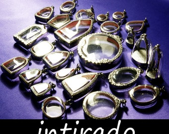 Wholesale Shadow Box Pendants, Diorama, Clear Lockets, Blank, Planter, Empty Containers, Amulet Cases, Silver tone,  Lot of 25