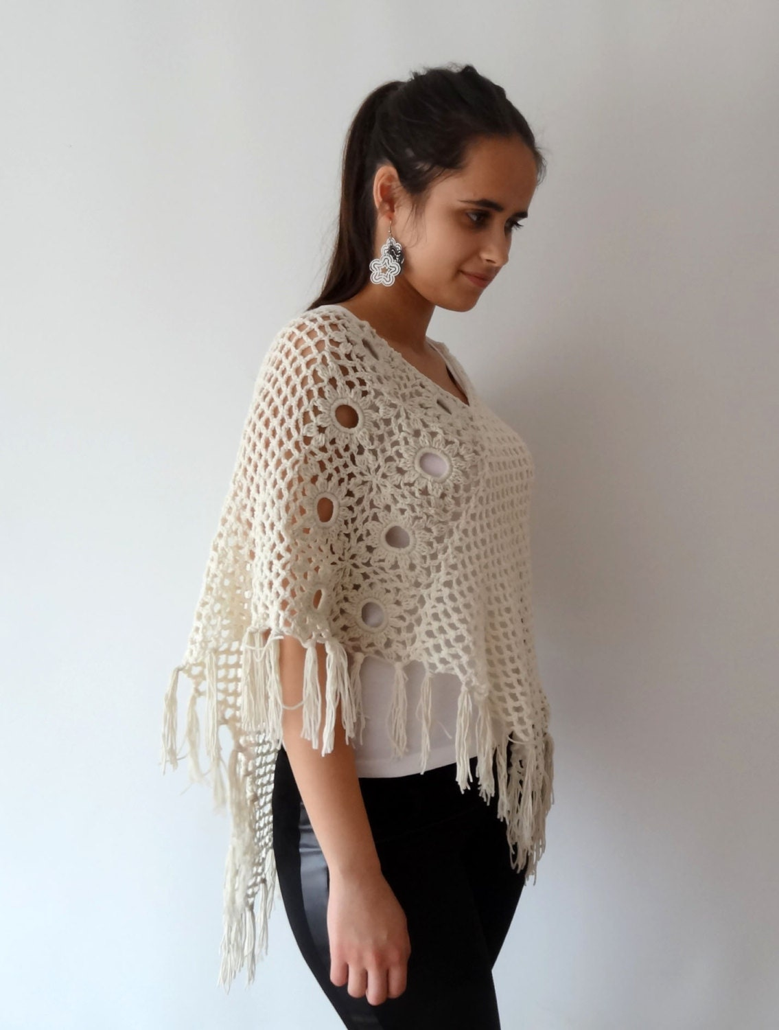 crochet summer poncho cotton poncho crochet womens ponchos. Black Bedroom Furniture Sets. Home Design Ideas