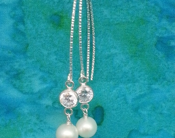 Sterling Silver Diamond cut Wire w. CZ and Pearl