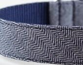 Indigo Herringbone Dog Collar