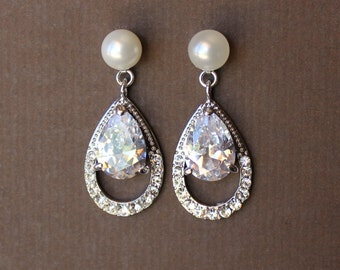 Pearl Stud Crystal Earrings, Crystal Teardrop  Earrings, Crystal Bridal Jewelry, Crystal Bridal Earrings, LILY