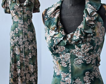 Halter Maxi Dress with Bolero Jacket  2 Piece 1970's does 1930's Green Tan White Floral Jersey size XS