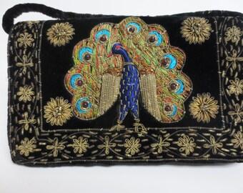 Vintage 1960s black velvet peacock purse / evening  embroidery details