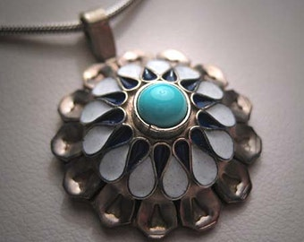 Antique Turquoise Enamel Pendant Necklace Silver Chain