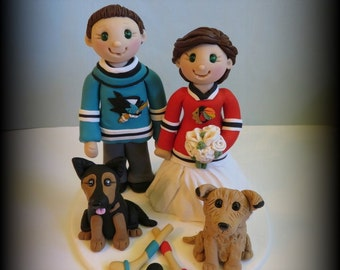 Wedding Cake Topper, Custom Cake Topper, Bride and Groom with Two Pets, Sports Theme, Hockey, Polymer clay, Personalized