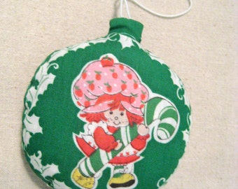 Vintage Strawberry Shortcake Candy Cane Christmas Ornament