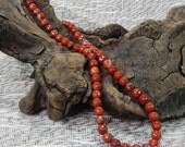 """Faceted Red River jasper necklace 21"""" long faceted red jasper beads semiprecious stone jewelry packaged in a colorful gift bag 10669"""