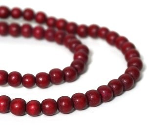 6mm round Wooden Beads, Cranberry Red, eco-friendly wooden beads (908R)