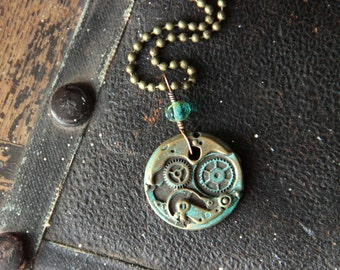 Steampunk Jewelry, clockwork watch gear necklace gothic shabby chic wedding, rustic brass watch parts aqua verdigris patina bridesmaids gift