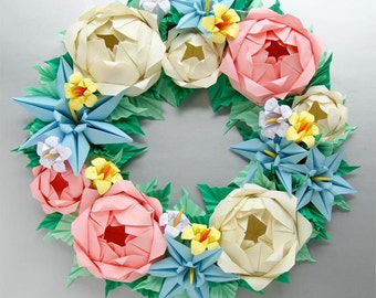 Baby Pink and Cream Rose Origami Wreath,  Mother's Day Wreath, Easter Wreath
