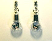 Tiny Multi-color Butterflies in Glass Bulb Earrings