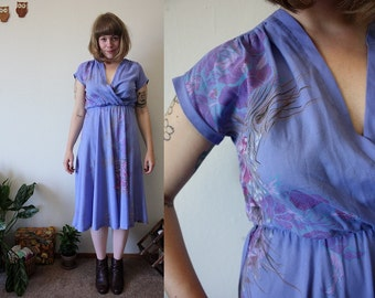 RESERVED 80s Vintage Foral Cross Front Empire Waist Dress / Small