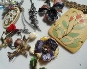Flower jewelry lot, vintage Enamel jewelry, Floral brooch,  vintage flowers, enamel flower brooch, jewelry lot, enamel pendant