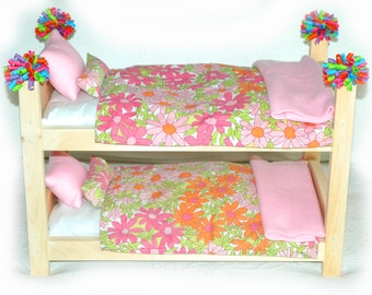 Double Doll Bunk Bed - Peony Garden American Made Girl Doll Bunk Bed - Fits 18 inch dolls and AG dolls