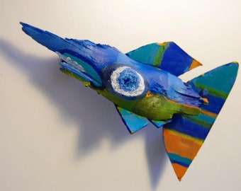Whimsical Original Fish Art - Recycled Wood Painted with Bright Colors and Ready to Hang in Any Room - Funky Fish Art for Kids room
