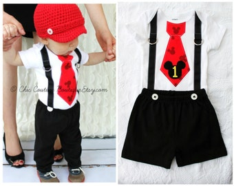 Mickey Mouse Birthday Tie and Suspenders Bodysuit & Black Shorts w White Buttons SET.  Baby Boy First Birthday Party Disney Style Clothing