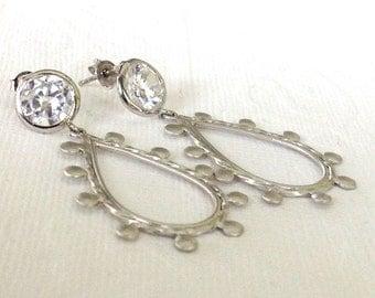 Stud earrings Cubic zirconia studs and large Rhodium tear drop / spring gift for her / big hoops earrings /