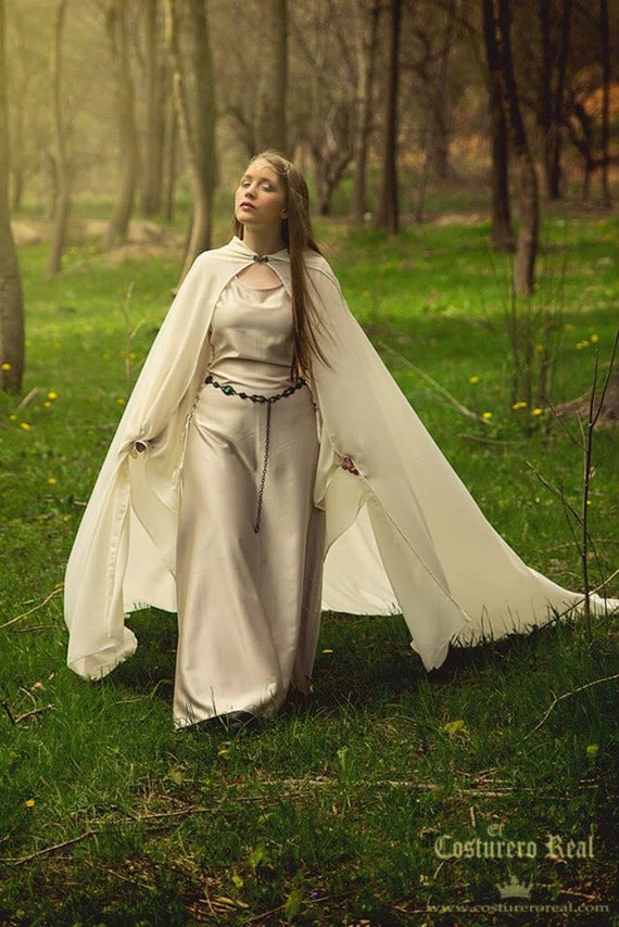 Elven Queen medieval celtic costume in satin and chiffon ivory bridal wedding gown Elvish, Medieval, Pre- Raphaelite, Gothic, Faery
